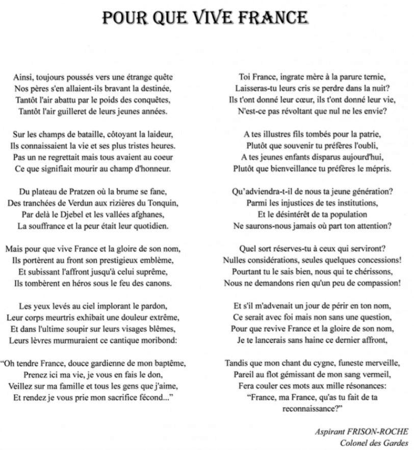 Pour Que Vive La France Magnifique Poème Du Capitaine